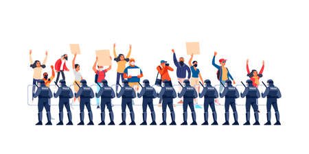 Group riot police with protective gear and shields. Peaceful rights protest, activists with placards, manifestation, men and women parade participation. Cartoon Flat style vector illustration