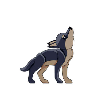 Black wolf cub howls in the sky. Cartoon character of a kid mammal animal. A wild forest creature with dark fur. Side view. Vector flat illustration isolated on a white background