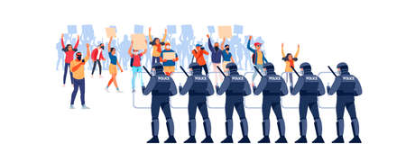 Crowds of people at a demonstration for human rights. Police in Riot Gear Holding the Line. Angry men and women protest, holding placards. Protesters at a political rally. Vector flat illustration