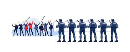Street riots Crowds of people at a demonstration and Police in Riot Gear Holding the Line. Angry youth protest, holding stones, smoke bomb and bat at a political rally. Vector flat illustration