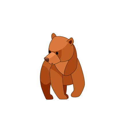 The bear cub walks around and looks around in surprise. Front view. Cartoon character of a baby mammal animal. A wild forest creature with brown fur. Vector flat illustration isolated on a white background.