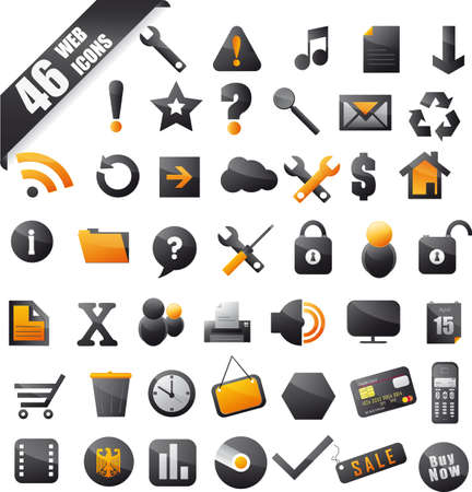 set of 46 popular icons on the web black orange