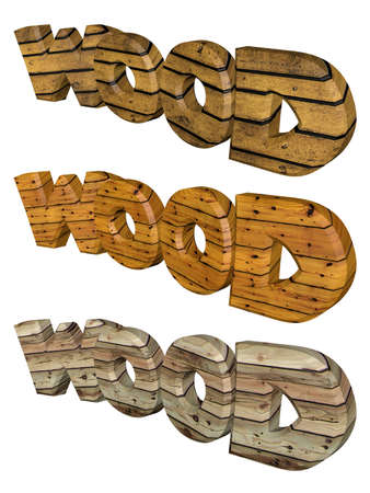 Wooded Word  Wood  in 3D
