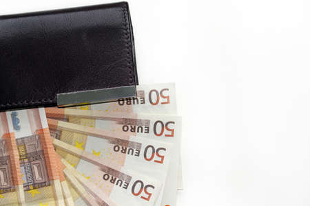 tax evasion: Wallet with banknotes Stock Photo