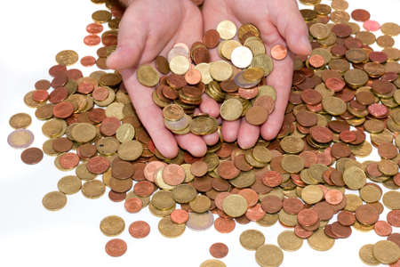 hands holding euro coins Stock Photo