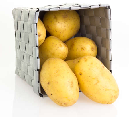 potatoes in basket Stock Photo