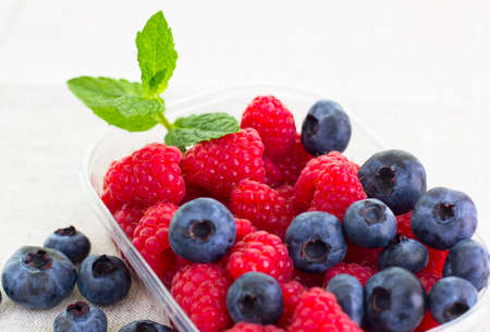 fresh bilberries and raspberries in a bowl  Stock Photo