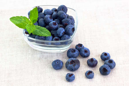 fresh bilberries in a bowl Stock Photo