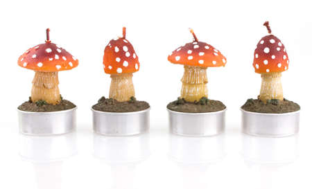 ambiente: four candles in mushroom shape