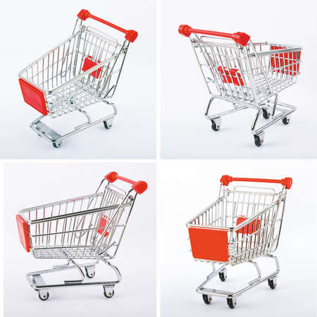 four red shop carts Stock Photo