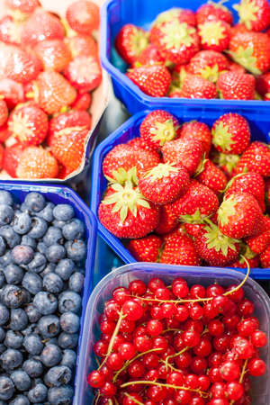 Fresh strawberries, currants and blueberries in bowls