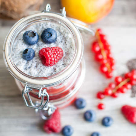 Chia seed pudding with berries