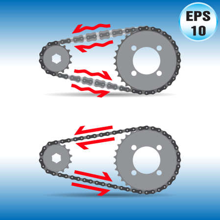 Sprocket and Chain compare Illustration