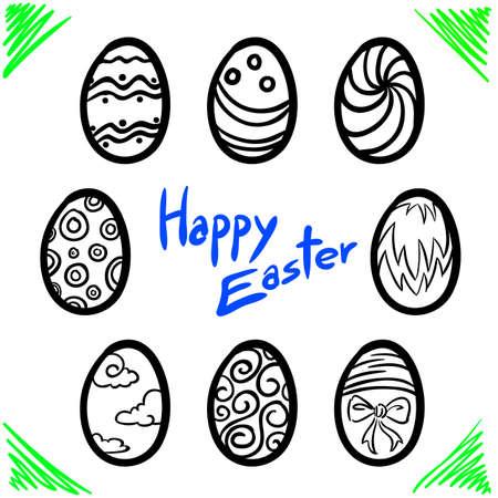 Happy Easter Line Vecter Vector
