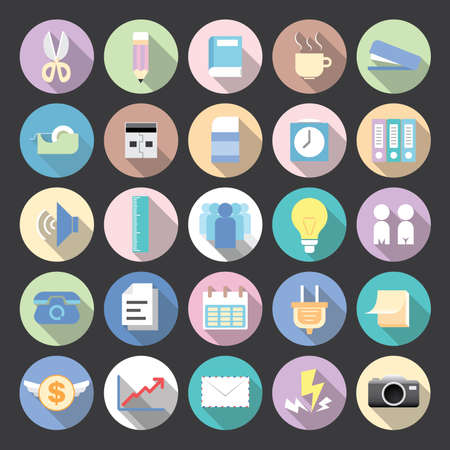 Flat icons modern vector collection with long shadow effect in stylish colors of business elements, office equipment and marketing items. Vector