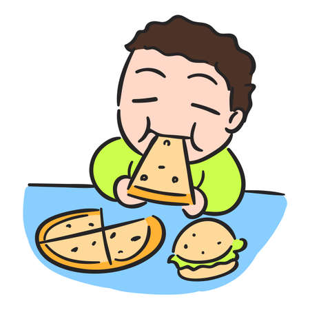 eating pizza: Cartoon boy is eating pizza, isolated vector stock Illustration