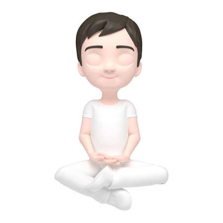 close your eyes: Boy meditating  illustration Stock Stock Photo