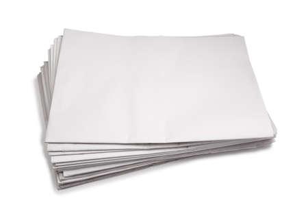 broadsheet newspaper: Blank Newspaper stack , Isolated on white