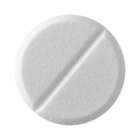 White tablet pill , isolated on white background photo
