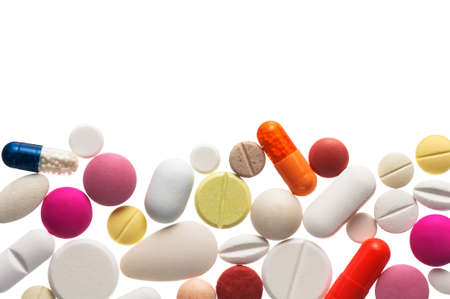 Close up colorful pills , isolated on white background Stock Photo - 15755176