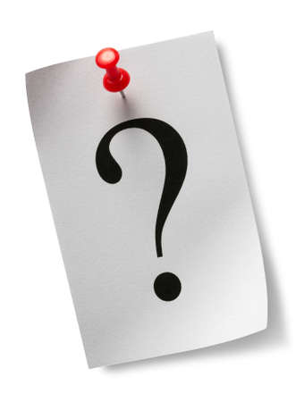 inquiries: Question mark on a piece of paper and a red pushpin