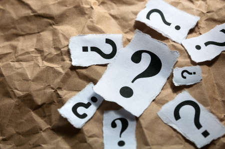 inquiries: Too many question marks Stock Photo