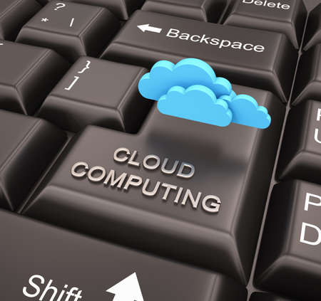 Cloud computing concept with keyboard , 3d render photo