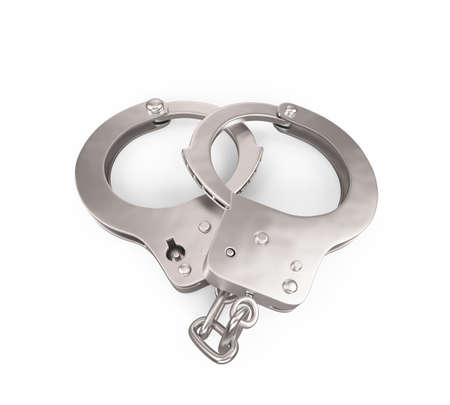 culprit: Handcuffs , Isolated on white background , 3d render Stock Photo