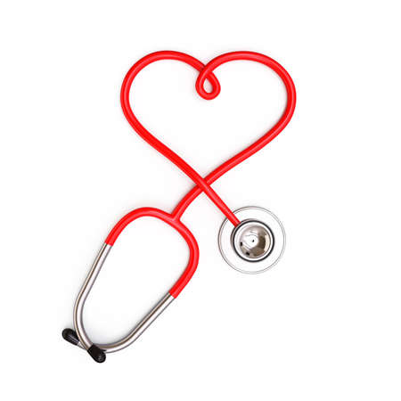 Heart shape from stethoscope on white background , 3d render photo