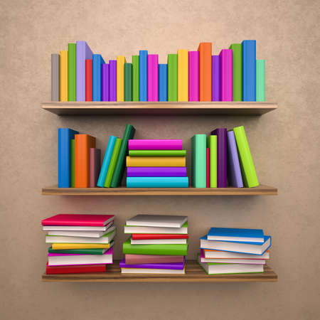 Bookshelf with colorful books , 3d render photo