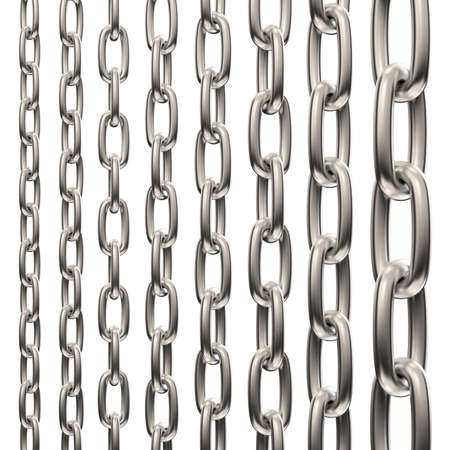 Various Chain Group , isolated on white , 3d render photo