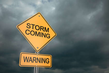 storm coming: Yellow road warning sign , Storm Coming , 3d render Stock Photo