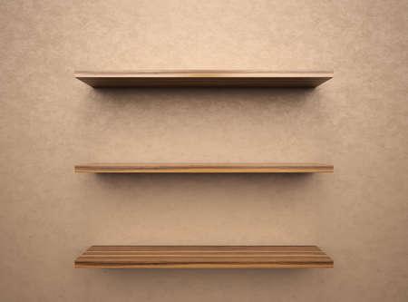 Empty bookshelf  with copy space , 3d render photo