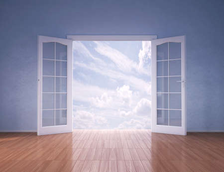 open window: Doors opening to blue skies , 3d render Stock Photo