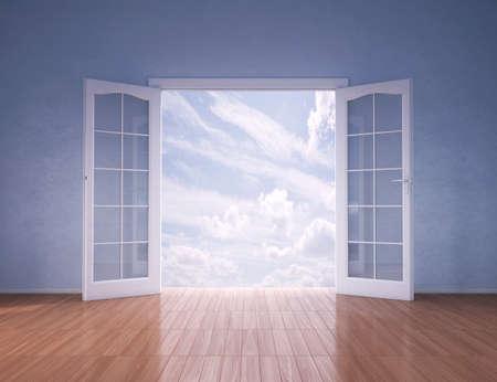 puertas abiertas: Las puertas se abren a un cielo azul, 3d Foto de archivo