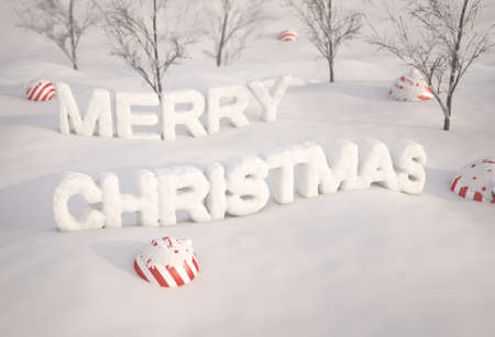 Merry Christmas from snow , 3d render photo