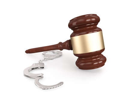 Gavel with handcuffs , isolated on white ,3d render photo