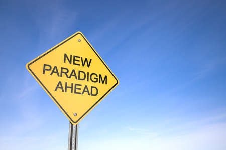 Yellow road warning sign , New Paradigm Ahead , 3d render photo