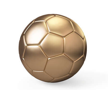pelota de futbol: Bal�n de f�tbol de oro sobre fondo blanco, 3d