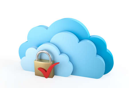 Blue cloud computing symbol with padlock , 3d render photo