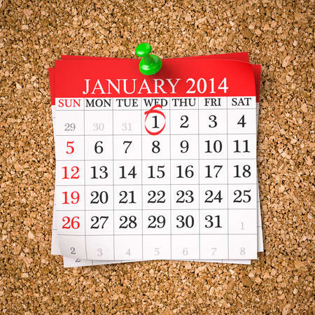 January 2014 - Calendar - Stock Image , 3d render  photo