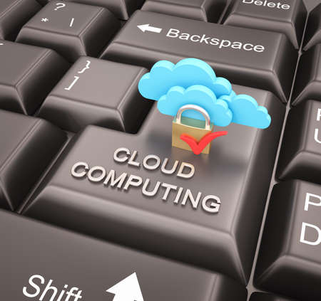 Cloud computing security concept with keyboard , 3d render photo