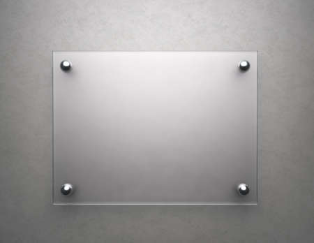 Blank frosted glass plate with copy space , 3d render photo