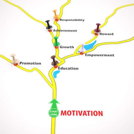 black empowerment: Motivation Map Concept , 3d render Stock Photo