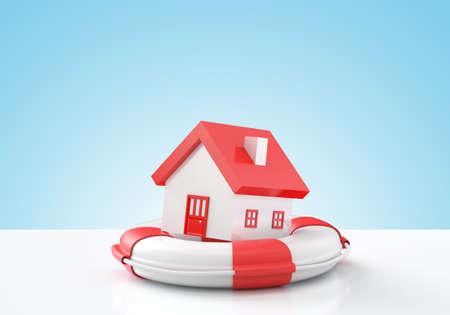 safe house: House insurance , House in lifebuoy , Blue background Stock Photo