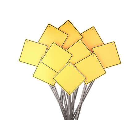 passing the road: Collection of many yellow blank road signs , 3d render Stock Photo
