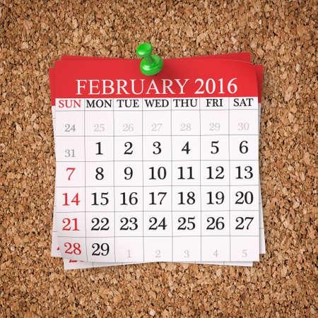 black wood texture: February 2016  Calendar on cork board , 3d render Stock Photo