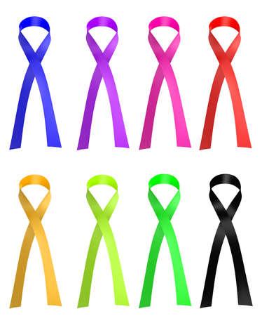 Awareness Ribbons  3d render Stock Photo