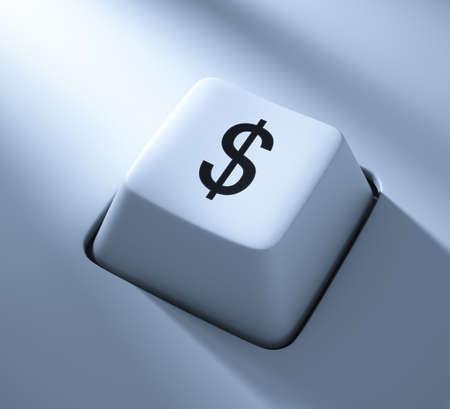 Dollar Symbol , computer key , blue toned with soft light