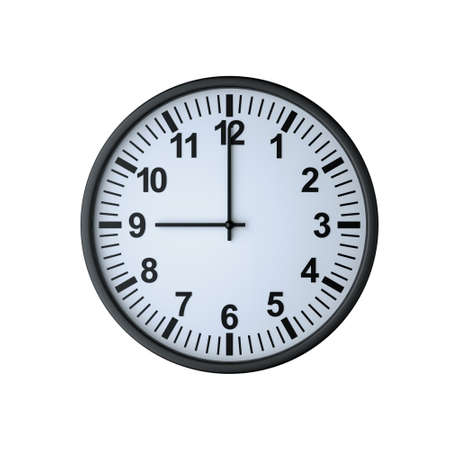 Clock face showing nine oclock , isolated on white , 3d render Stock Photo